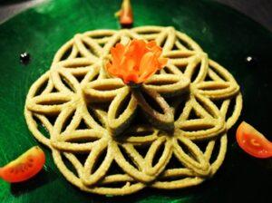An Ornate Hummus Art Design Made with a 3D Printer